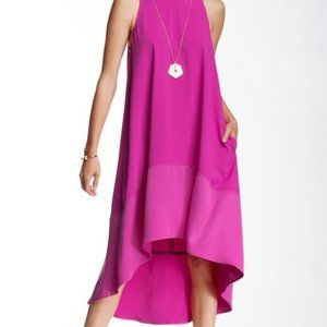 Trina Turk Brilliant Fuchsia Cayden Hi-Lo Dress S